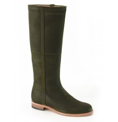 Khaki green leather riding boots