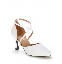 Elegant white leather bridal shoes
