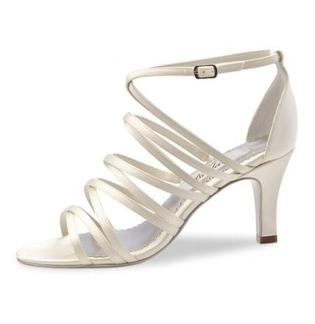 Ivory satin bridal sandals on offer