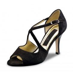 Elegant black suede leather pump shoe