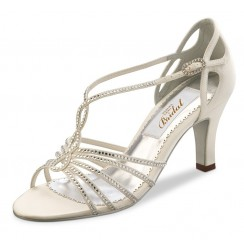 Salome ivory bridal shoes and rhinestones