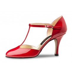 Red patent pump shoe