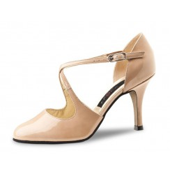Beige patent leather pump shoe