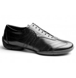 Black leather man sneakers