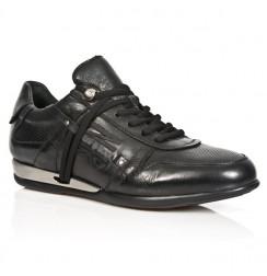 Black leather rock sneakers