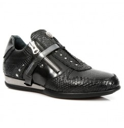 Black snake leather sneakers