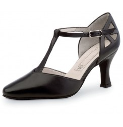 Black leather salomé dancing shoe