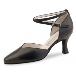 Black leather closed toe dancing shoe