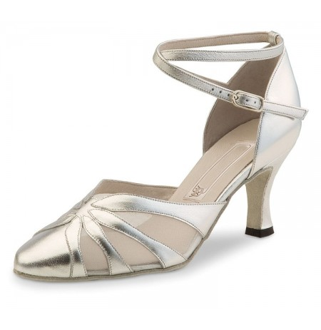 Silver leather closed dancing heels