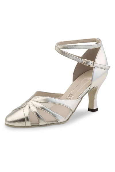 Silver leather closed dancing shoe