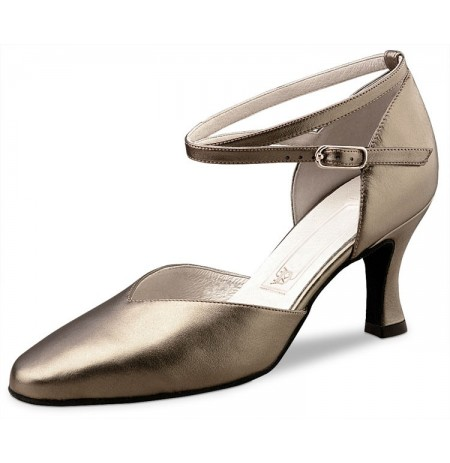 Shiny bronze leather closed toe dancing shoes