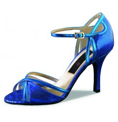 Blue snake leather dancing shoe