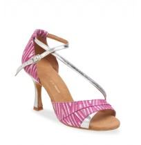 Elegant pink dancing shoes with silver straps
