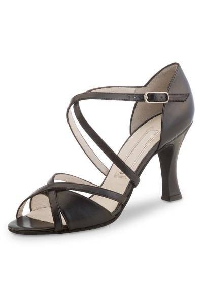 Elegant black leather dancing shoe
