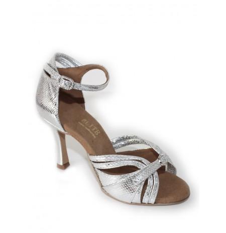 Elegant silver snakeskin leather bridal shoes