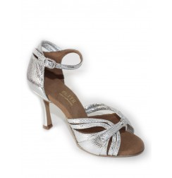 Elegant silver snake leather bride shoes