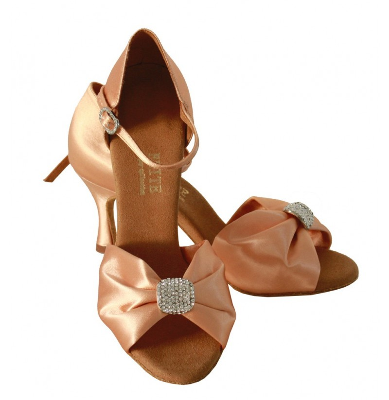 Bridal Shoes Elegant: COPPER SATIN COMFORTABLE WEDDING HEELS WITH RHINESTONES