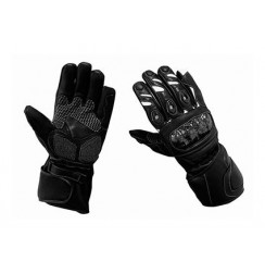 Black'n white leather motorcycle gloves carbon protections
