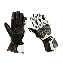 High protection Black'n white leather motorcycle gloves