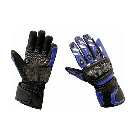 Blue leather motorcycle gloves with carbon fibre and Kevlar knuckle protection