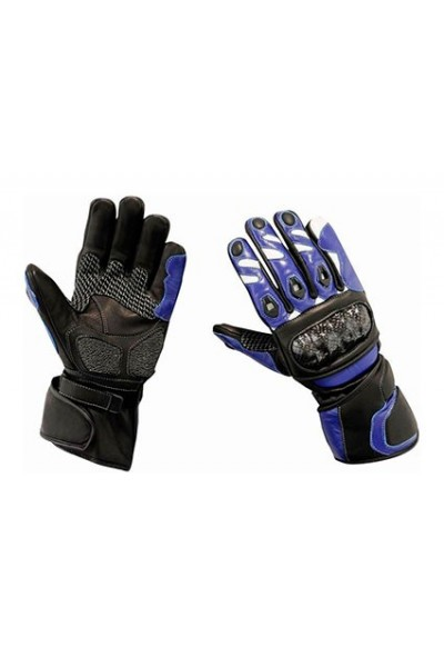 Blue leather motorcycle gloves carbon protections