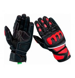 Red leather motorcycle gloves high protection