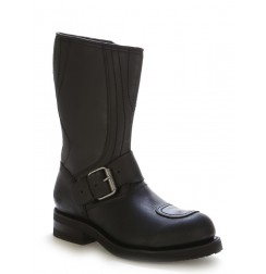 Black box leather bike boots with steel toes