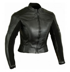 Woman Black leather bike jacket