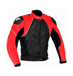 Black and red leather bike jacket