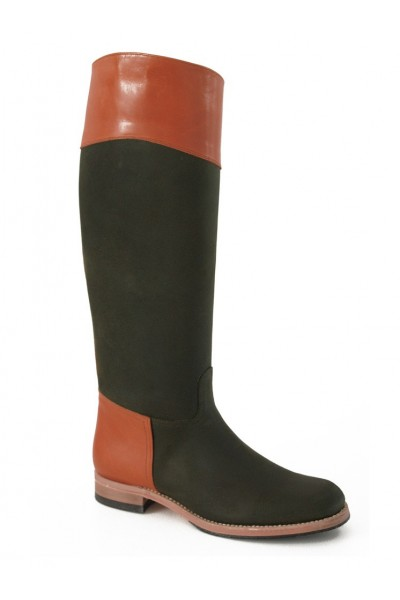 Two-coloured green/camel leather riding boots