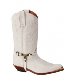 White Mexican custom made cowboy boots with buffalo straps