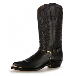 Custom-made black leather Mexican cowboy boots with buffalo bridles