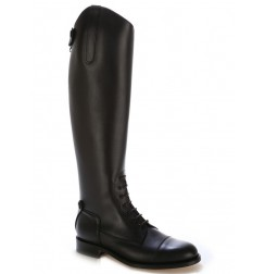 Special BIG SIZES Black leather riding boots with bootlaces