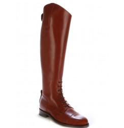 Copper brown leather riding boots with bootlaces Special BIG SIZES