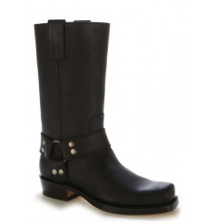 BIg Size - Black leather biker boots with bridles