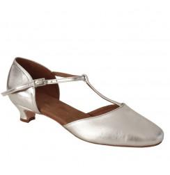 Silver leather comfort heel