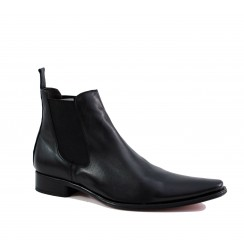Black leather ankle boots for men