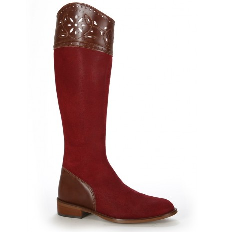Elegant red suede leather spanish boots