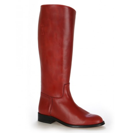 Red vintage leather riding boots
