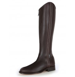 Brown leather dressage boot