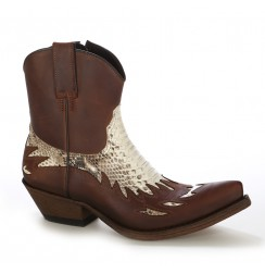 Brown leather and real snakeskin cowboy ankle boots