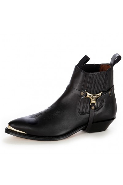 COWBOY HARNESS ANKLE BOOTS WITH METAL