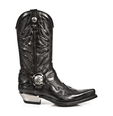 Black leather and snake cowboy boots for men with steel heel