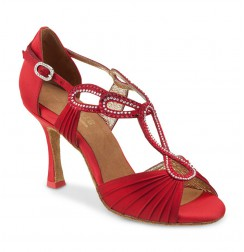 Red sparkly latin dance shoes