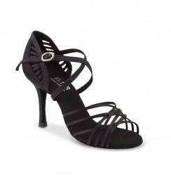 Multi-lash black satin dancing shoes