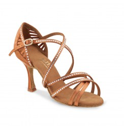 Open toe copper dance heels with rhinestones