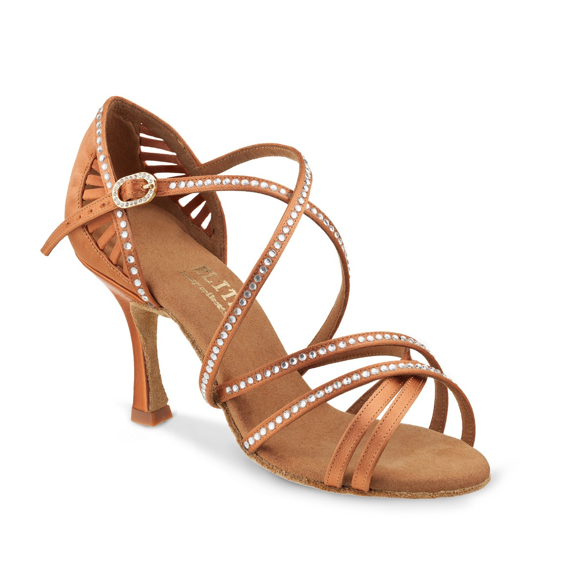 ef52ea5285 LADIES TAN COLOUR SALSA SHOES WITH CRYSTALS Bronze sandal style heels for  dancing bachata