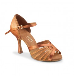 Tan satin sparkle Latin dance shoes