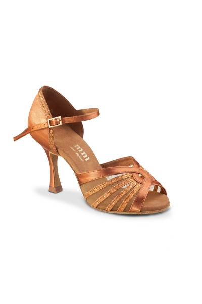 Tan satin sparkle Latin dance shoes