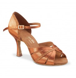 Glittery copper satin latin dance shoes